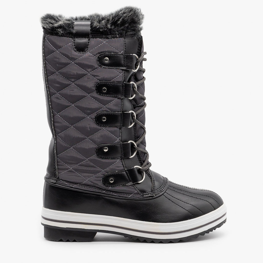 Womens Quilted Faux Fur Cuffed Snow Boots - Refresh - Gray / 5