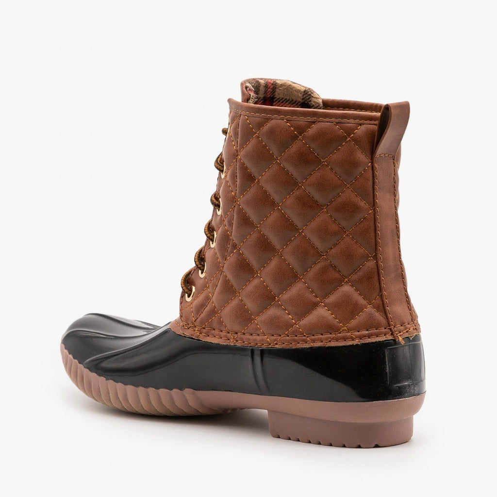 Womens Quilted Faux Leather Duck Boots - Unilady
