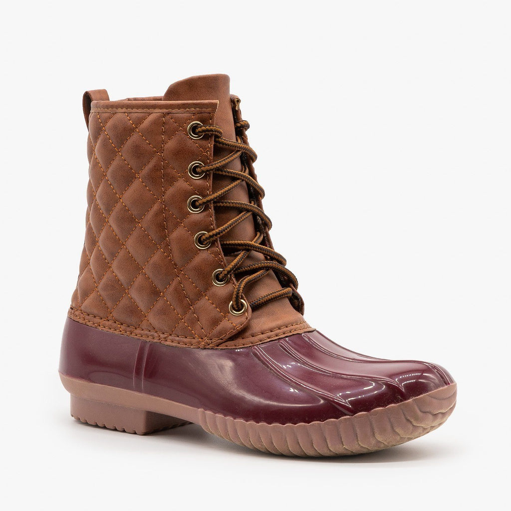 Womens Quilted Faux Leather Duck Boots - Unilady - Wine / 5