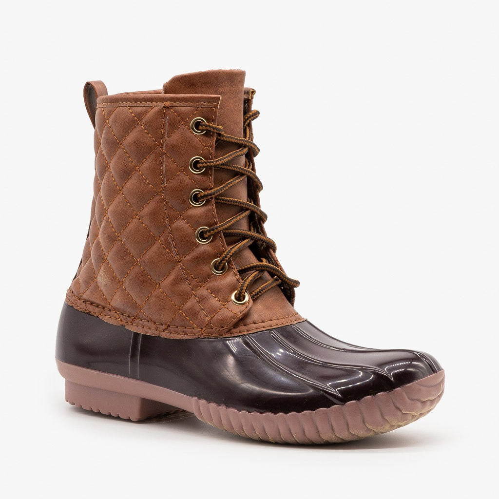 Womens Quilted Faux Leather Duck Boots - Unilady - Brown / 5
