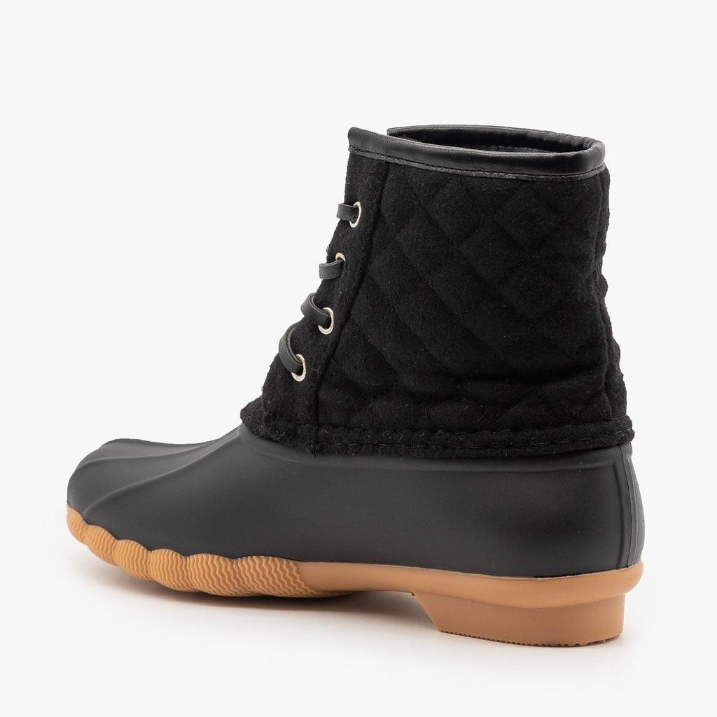 Womens Quilted Felt Duck Boots - Top Moda