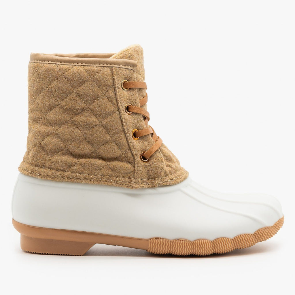 Womens Quilted Felt Duck Boots - Top Moda - Tan / 5