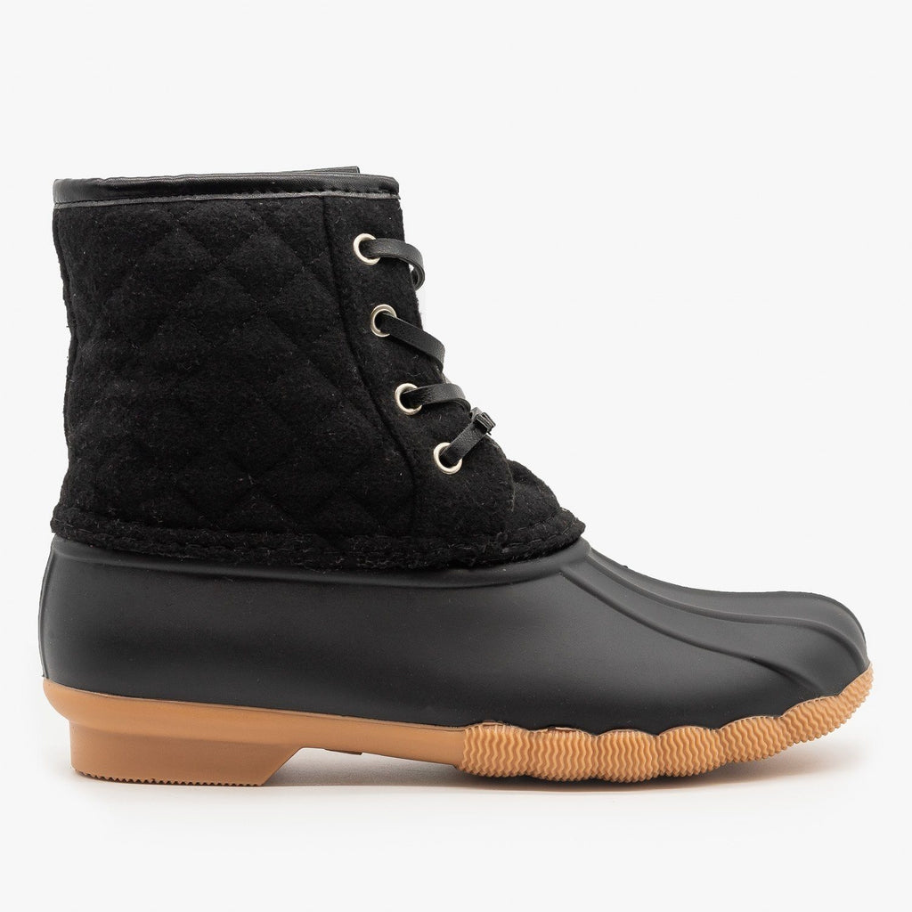 Womens Quilted Felt Duck Boots - Top Moda - Black / 5