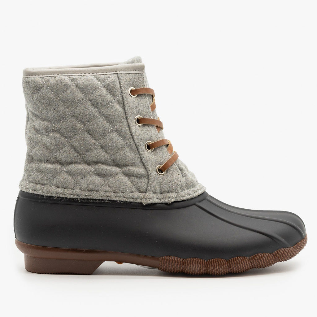 Womens Quilted Felt Duck Boots - Top Moda - Gray / 5
