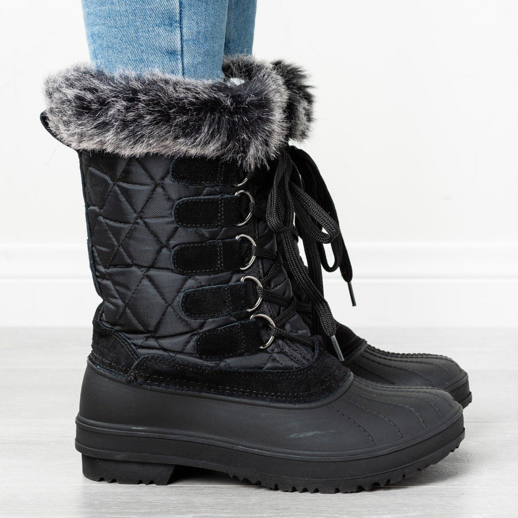Womens Quilted Furry Top Duck Boots - Wild Diva Shoes - Black / 5