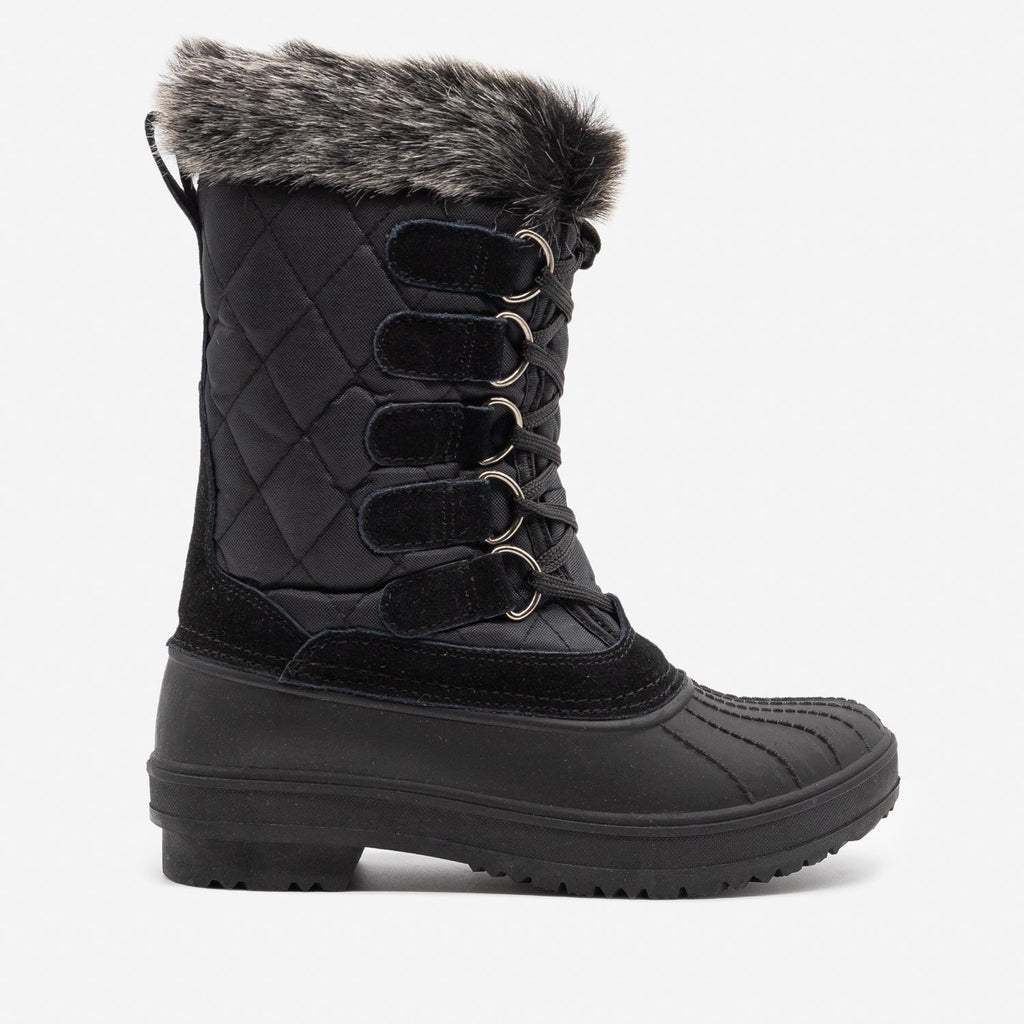 Women's Quilted Furry Top Duck Boots - Wild Diva Shoes - Black / 5