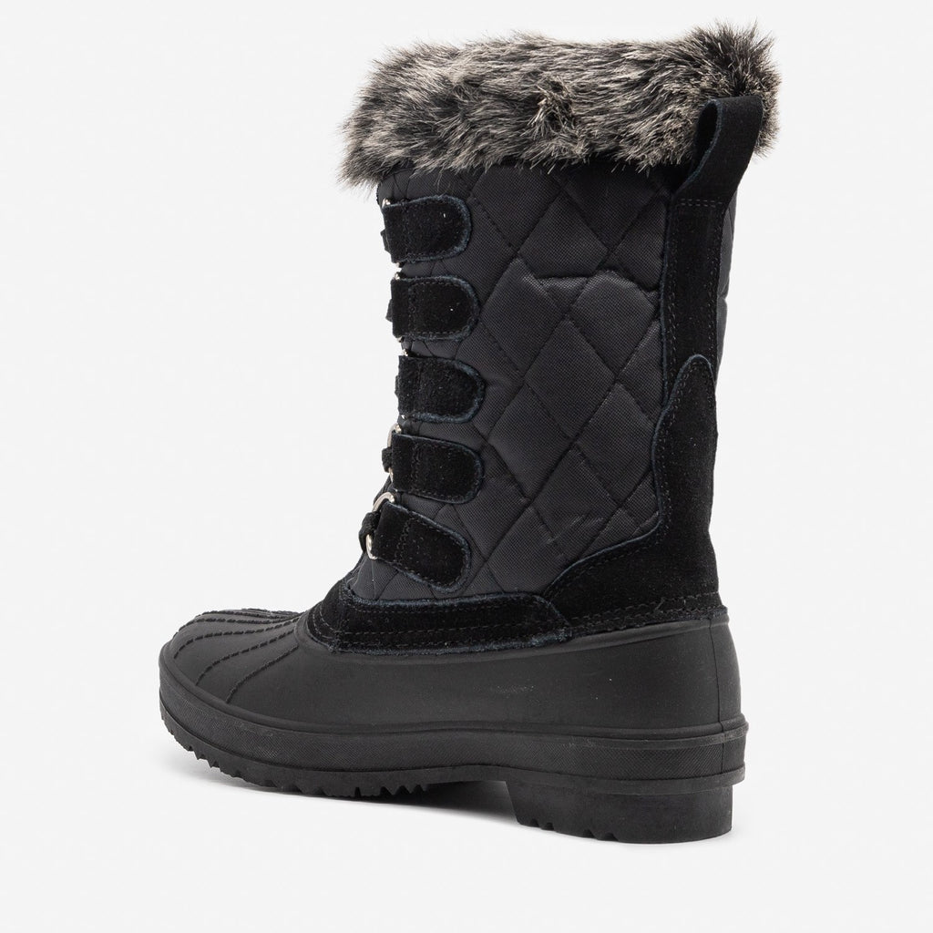 Women's Quilted Furry Top Duck Boots - Wild Diva Shoes