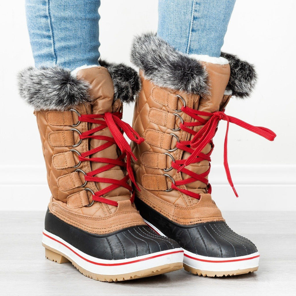 Womens Quilted Furry Top Duck Boots - Wild Diva Shoes - Cognac / 5
