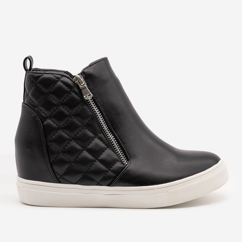 Women's Quilted Inner Wedge Sneakers - La Sheelah Shoes - Black / 5