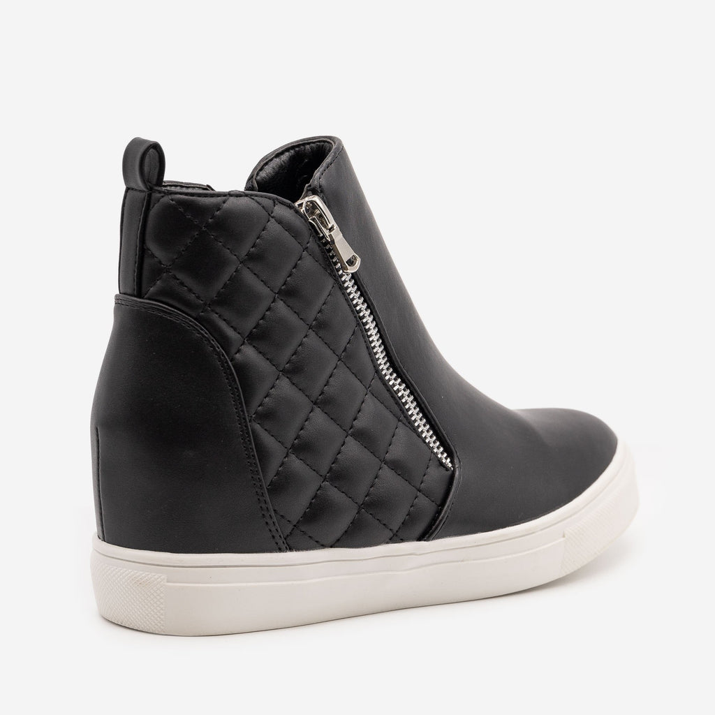 Women's Quilted Inner Wedge Sneakers - La Sheelah Shoes