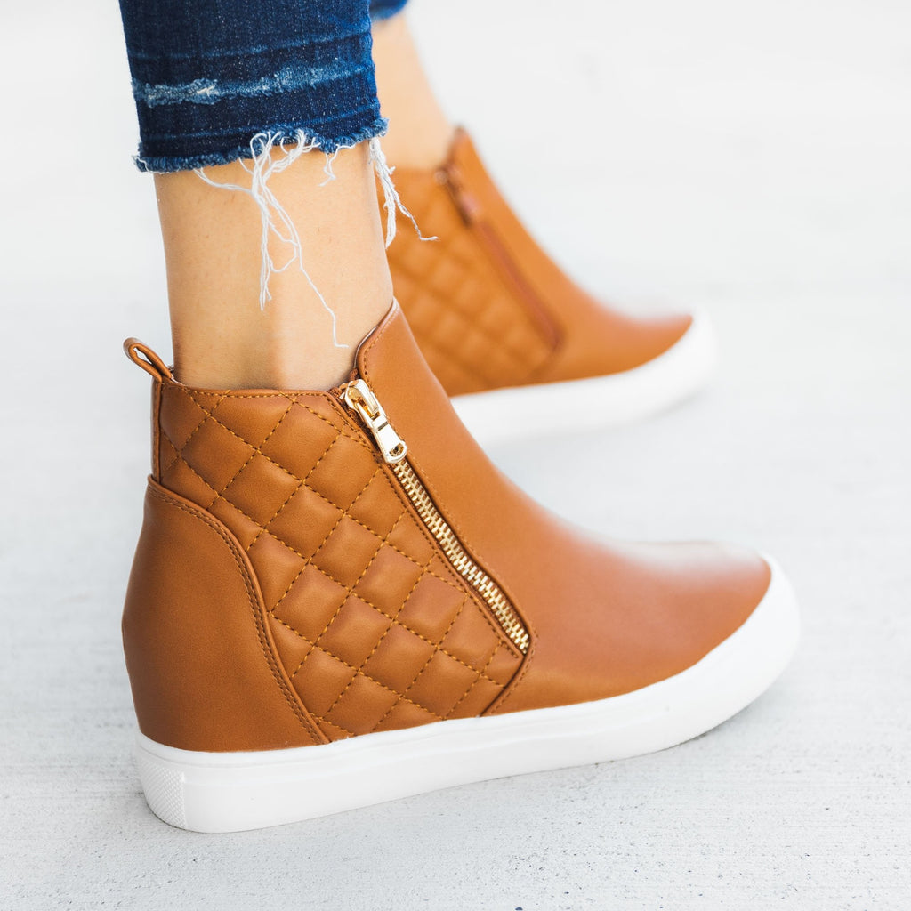 Women's Quilted Inner Wedge Sneakers - La Sheelah Shoes - Tan / 5
