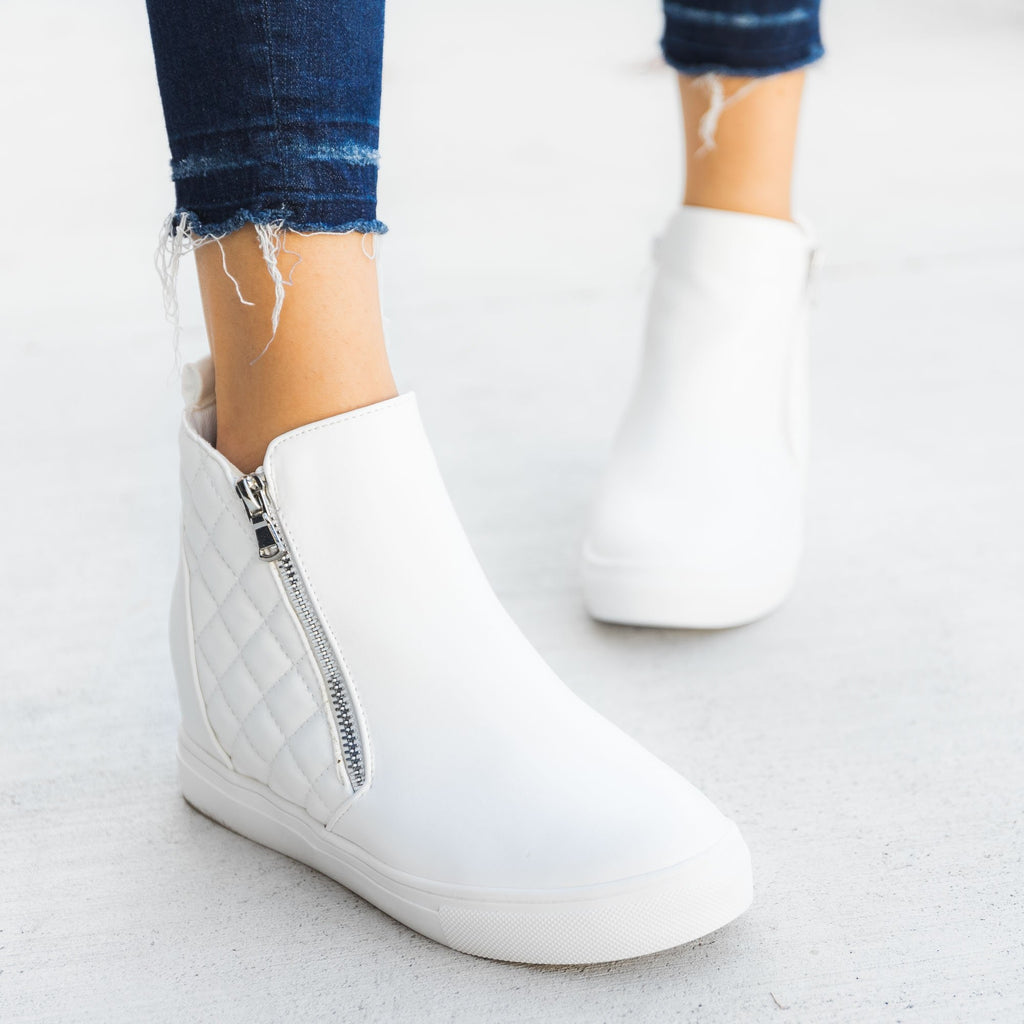 Women's Quilted Inner Wedge Sneakers - La Sheelah Shoes - White / 5