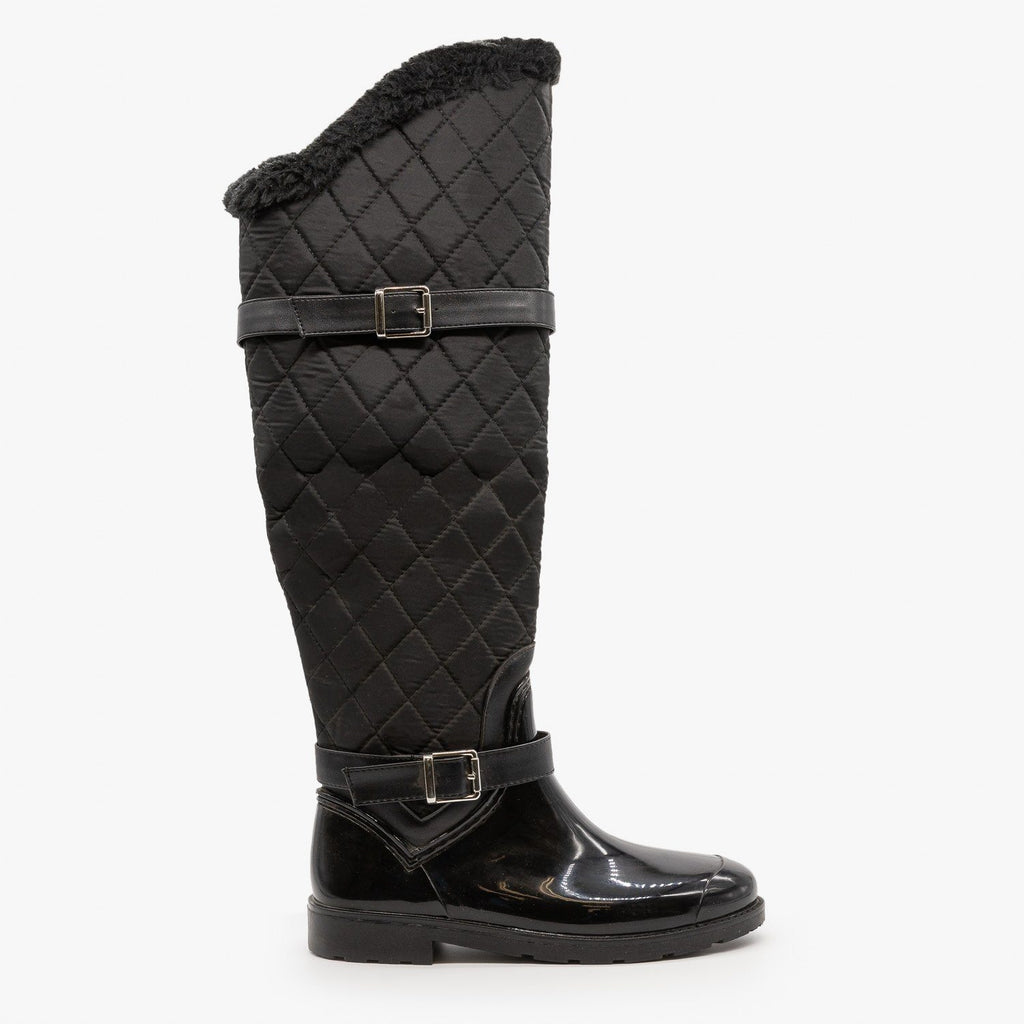 Womens Quilted Knee High Boots - Bamboo Shoes - Black / 5