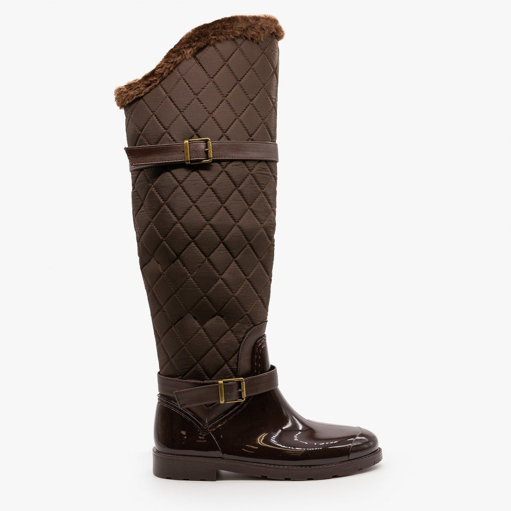Womens Quilted Knee High Boots - Bamboo Shoes - Brown / 5