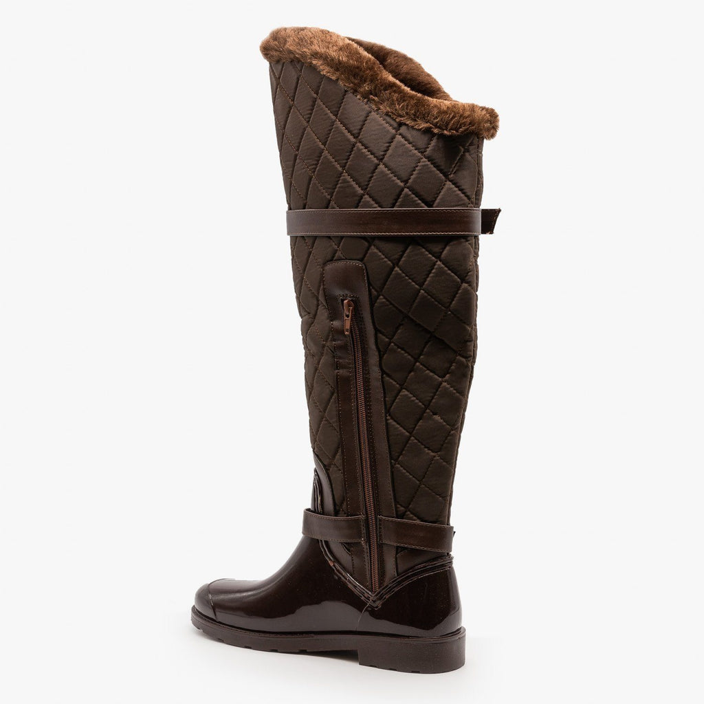 Womens Quilted Knee High Boots - Bamboo Shoes