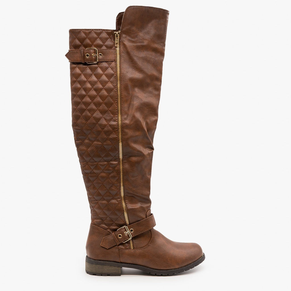 Womens Quilted Knee High Riding Boots - Forever - Brown / 5