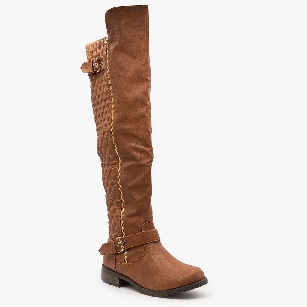Womens Quilted Knee High Riding Boots - Forever