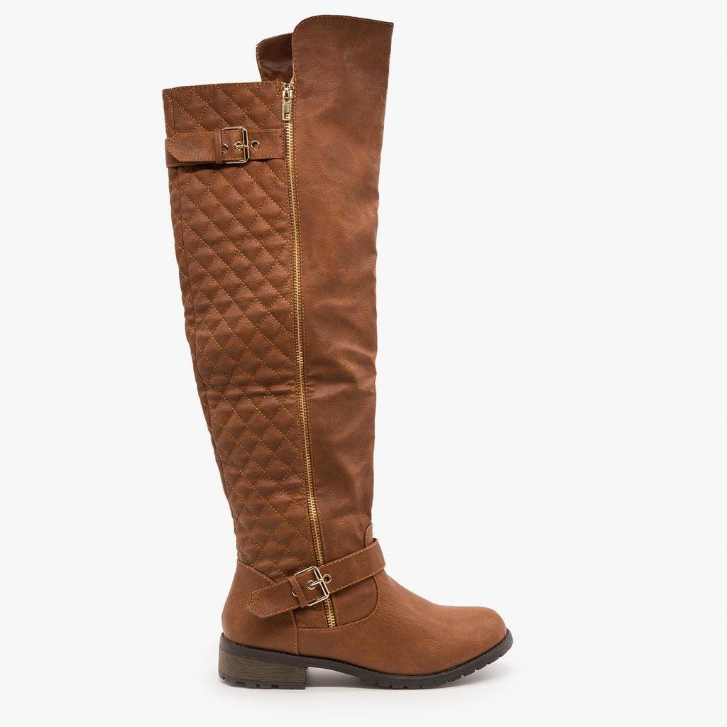 Womens Quilted Knee High Riding Boots - Forever - Tan / 5