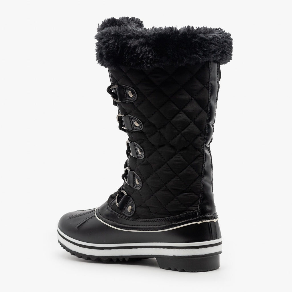 Womens Quilted Mid Calf Snow Boots - Forever