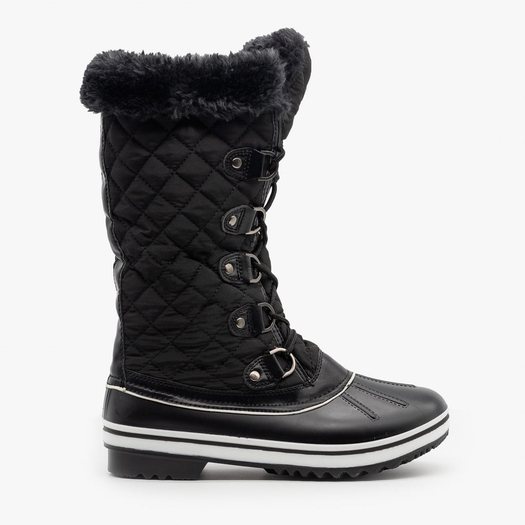 Womens Quilted Mid Calf Snow Boots - Forever - Black / 5