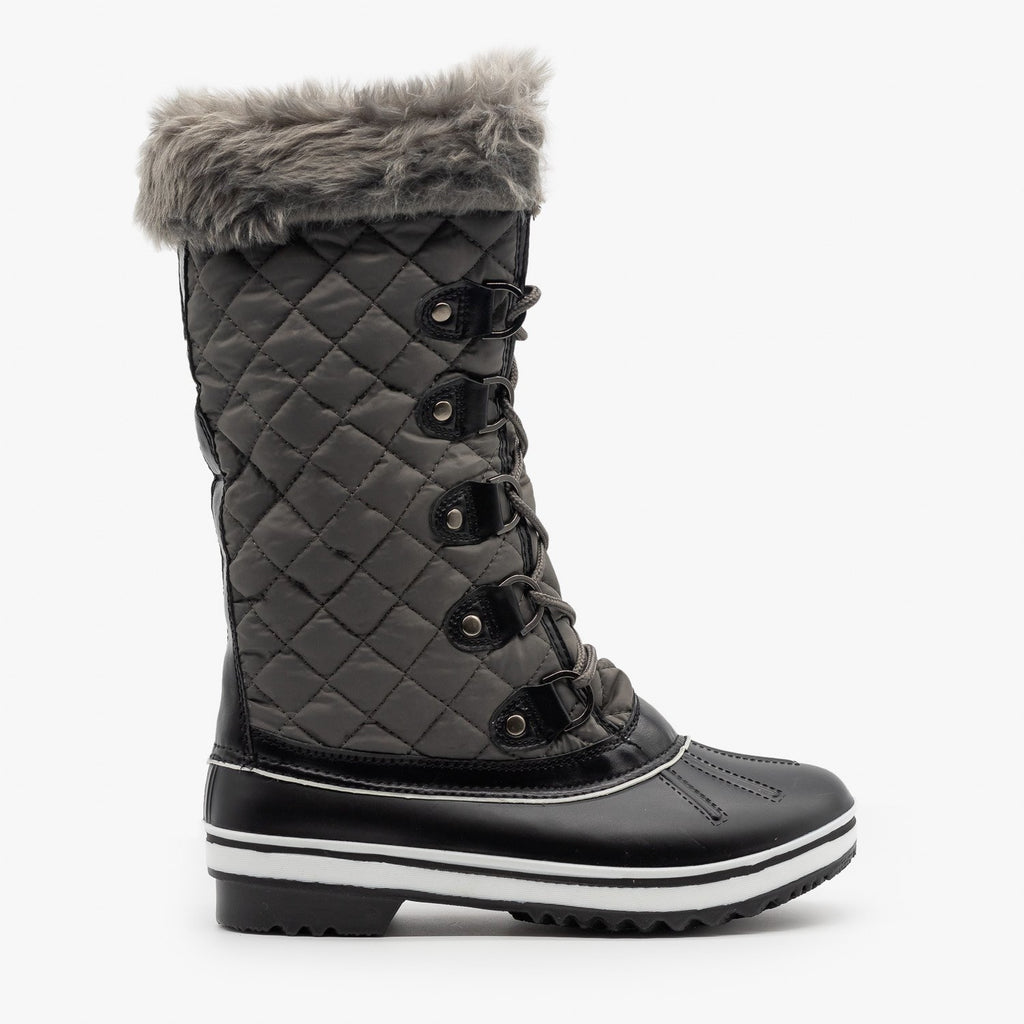 Womens Quilted Mid Calf Snow Boots - Forever - Gray / 5