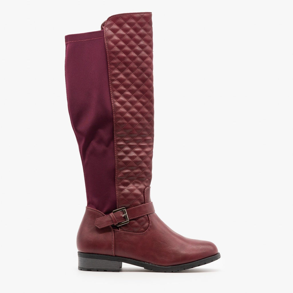 Womens Quilted Nylon Back Riding Boots - Forever - Burgundy / 5