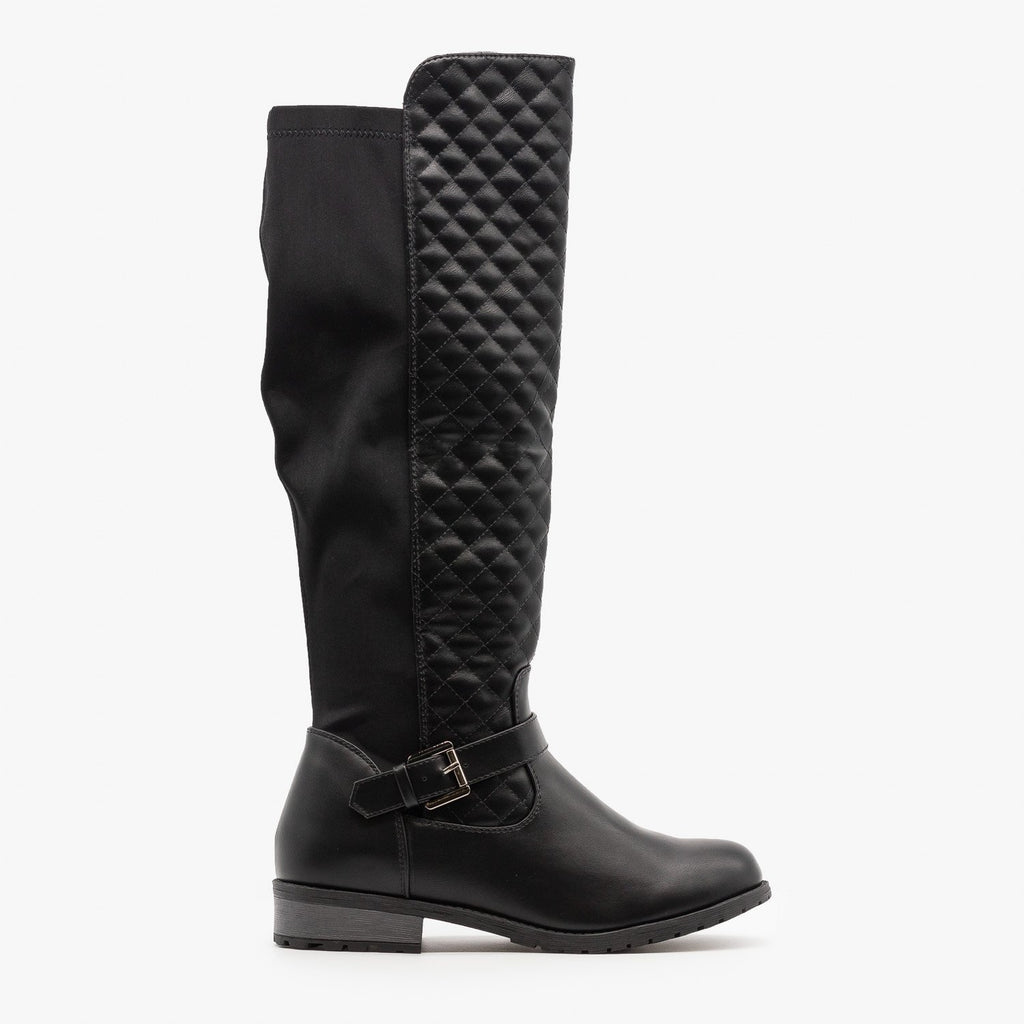 Womens Quilted Nylon Back Riding Boots - Forever - Black / 5