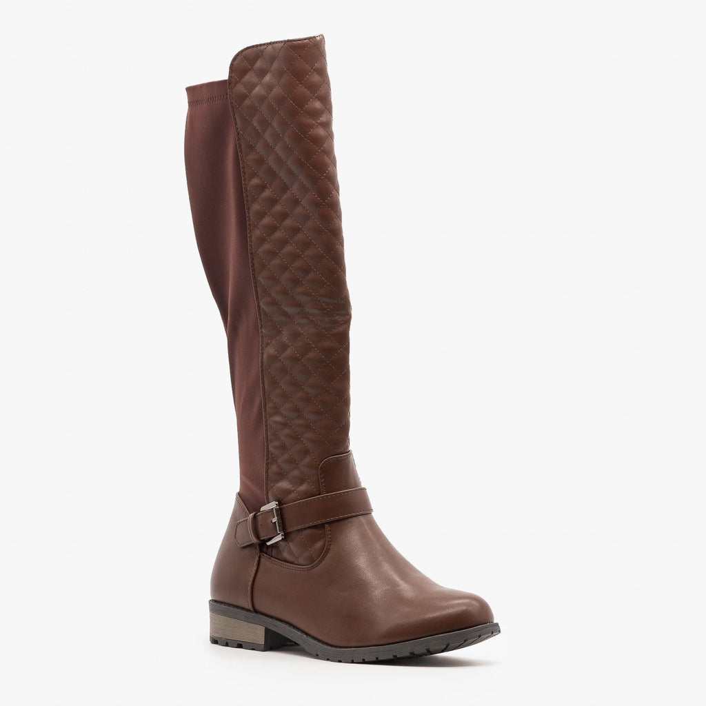 Womens Quilted Nylon Back Riding Boots - Forever