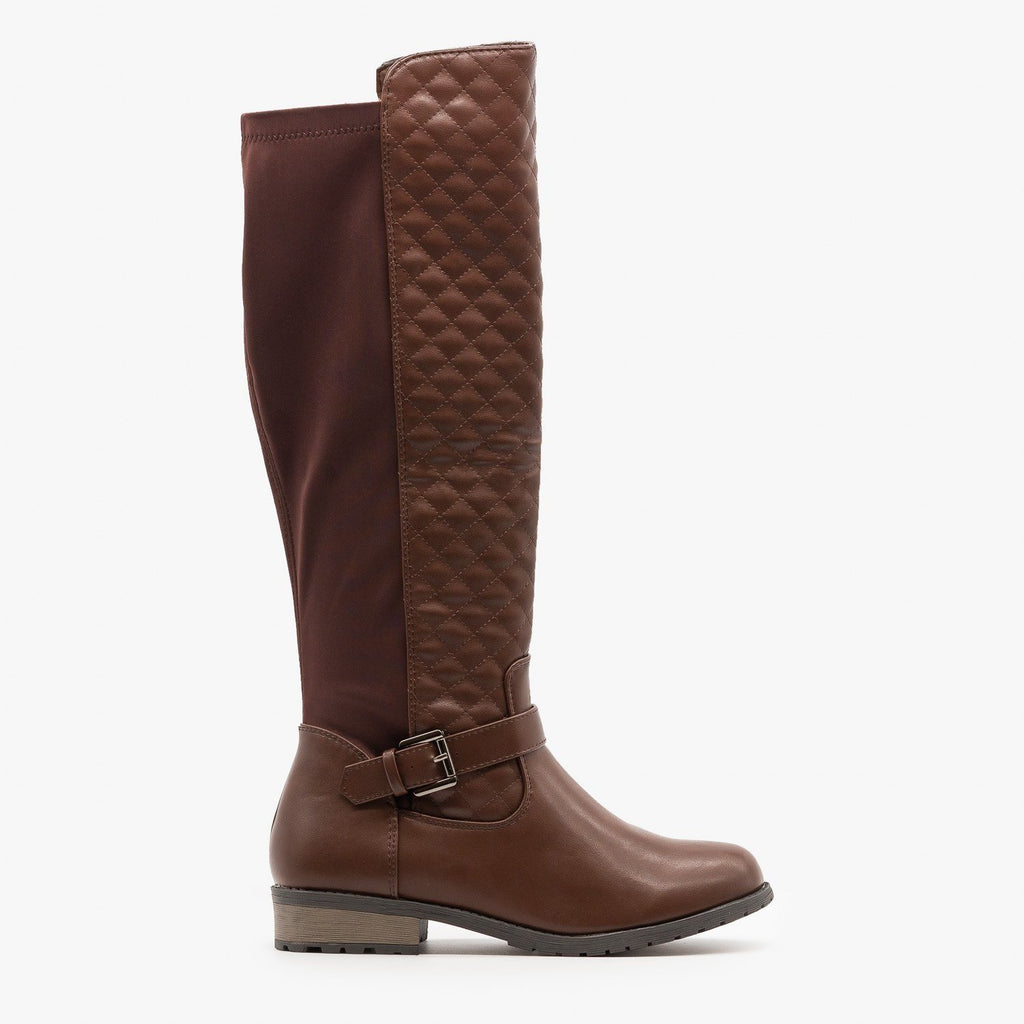 Womens Quilted Nylon Back Riding Boots - Forever - Brown / 5