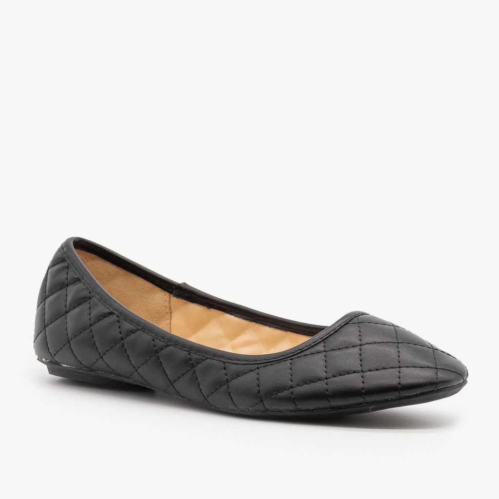 Womens Quilted Pointed Toe Ballet Flats - Qupid Shoes - Black / 5