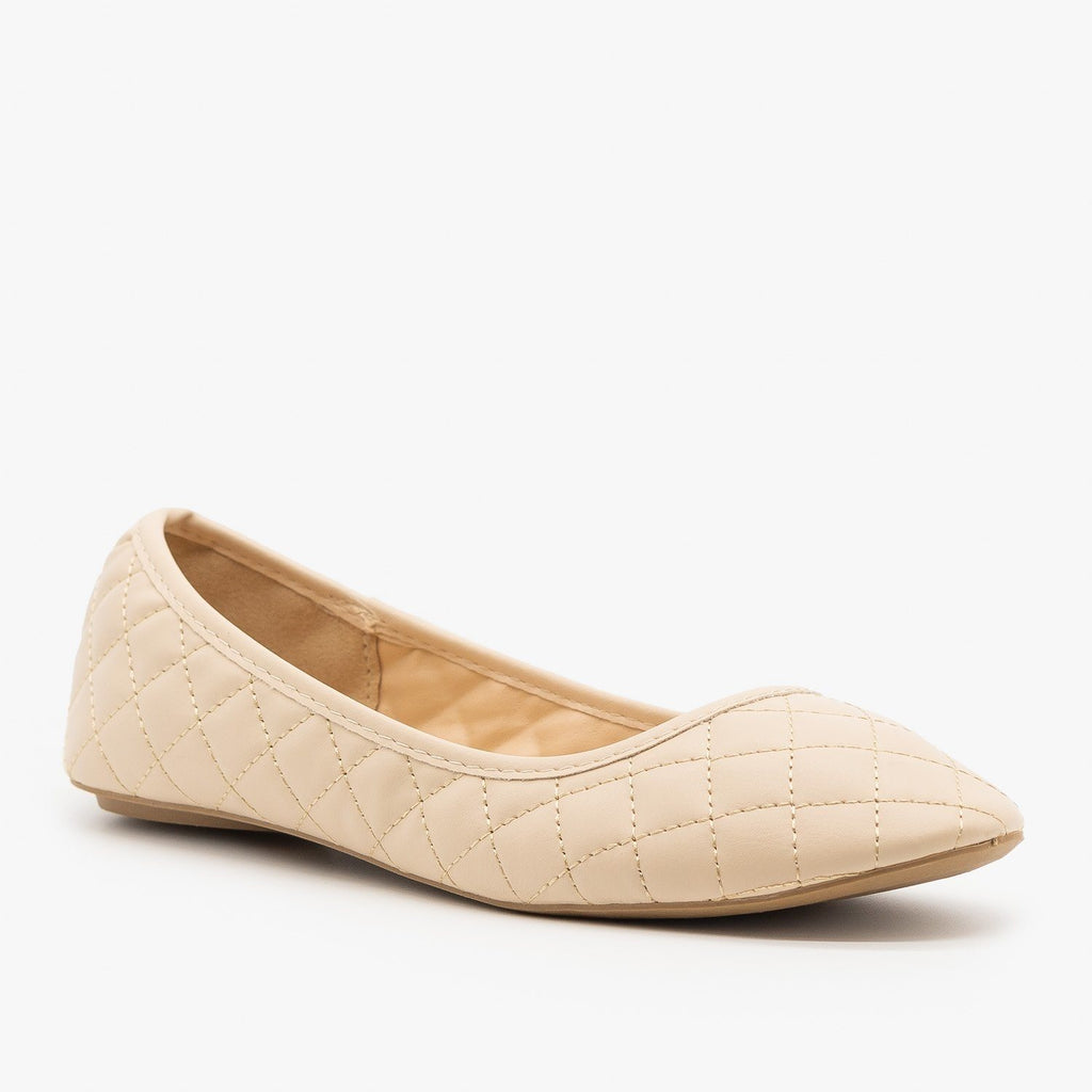 Womens Quilted Pointed Toe Ballet Flats - Qupid Shoes - Nude / 5
