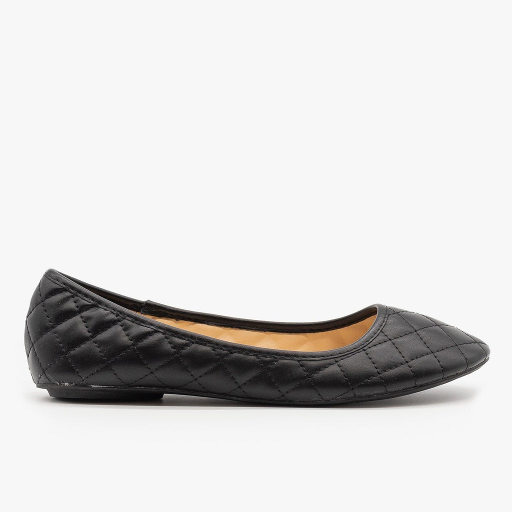 Womens Quilted Pointed Toe Ballet Flats - Qupid Shoes