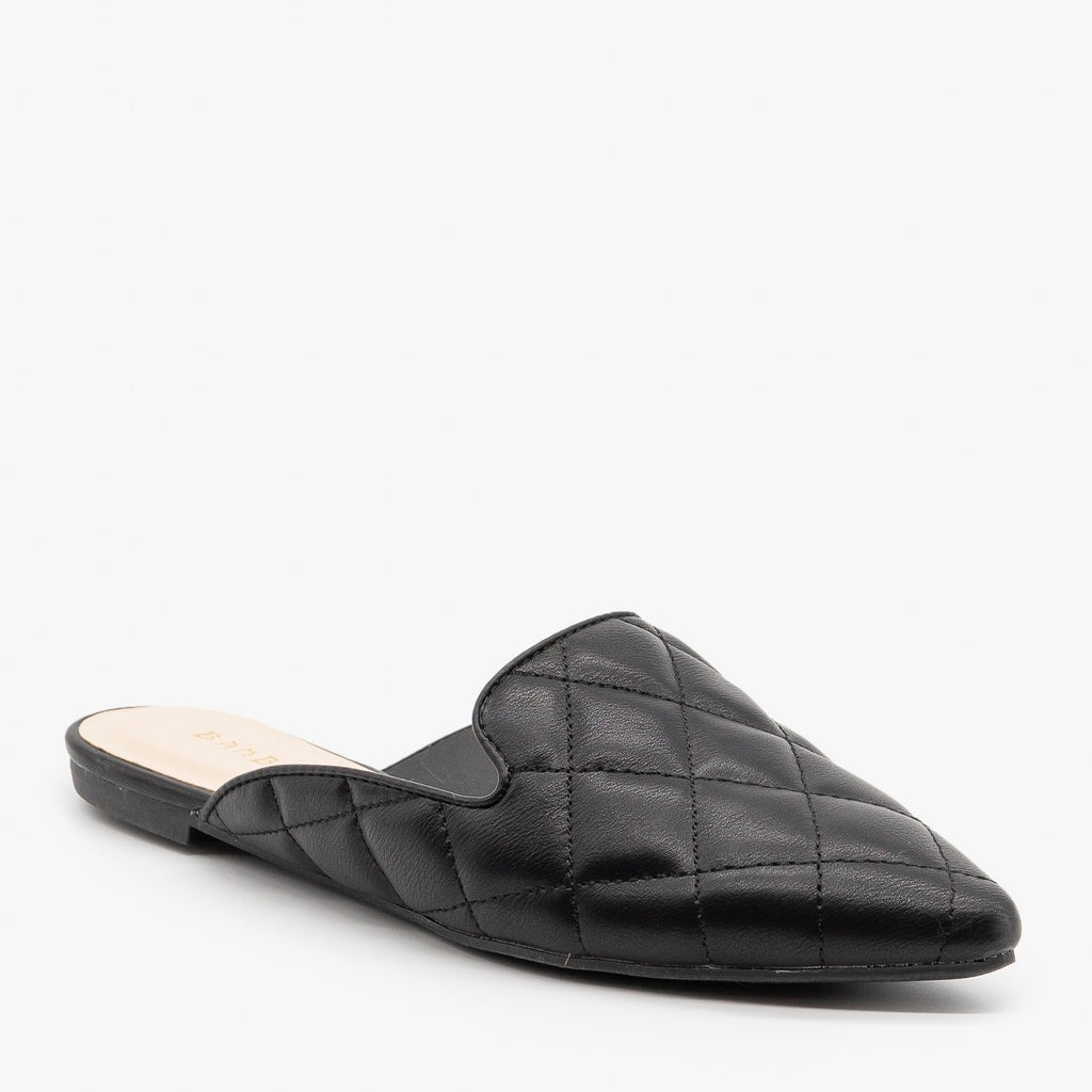 Womens Quilted Pointed Toe Mules - Bamboo Shoes - Black / 5