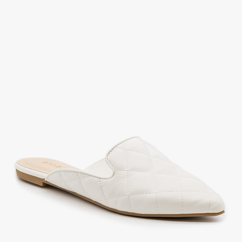 Women's Quilted Pointed Toe Mules - Bamboo Shoes - White / 5