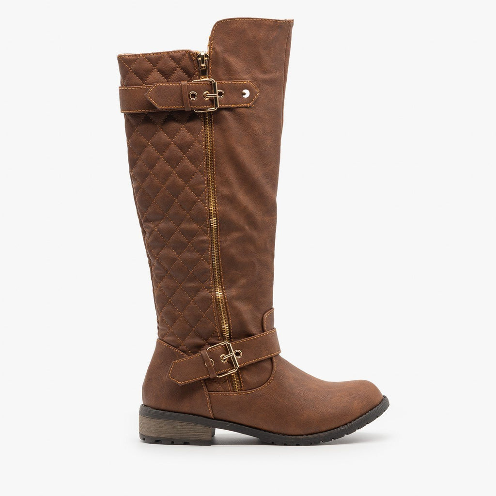 Womens Quilted Riding Boots - Forever