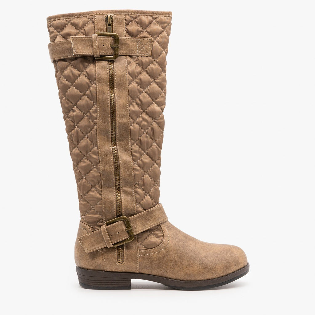 Womens Quilted Riding Boots - Glister - Khaki / 5