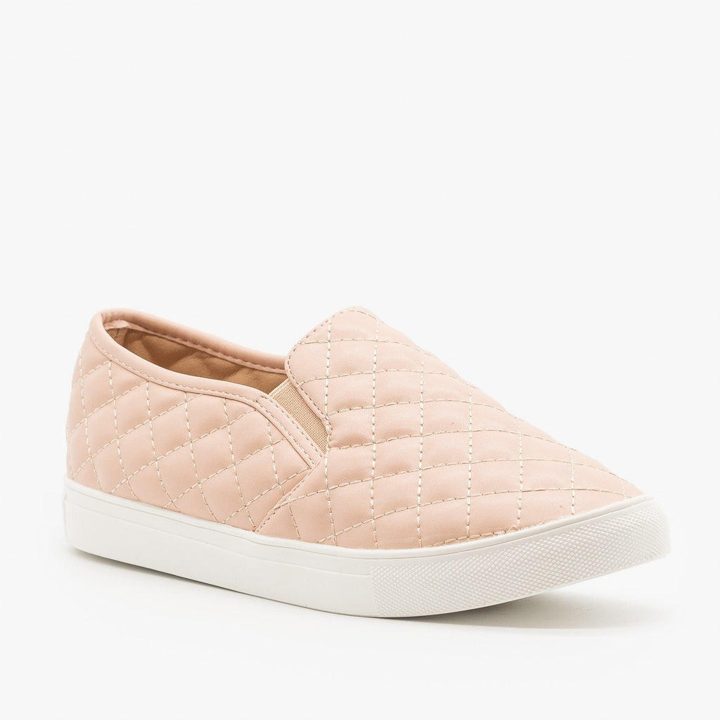 Womens Quilted Slip On Sneakers - La Sheelah Shoes - Pink / 5