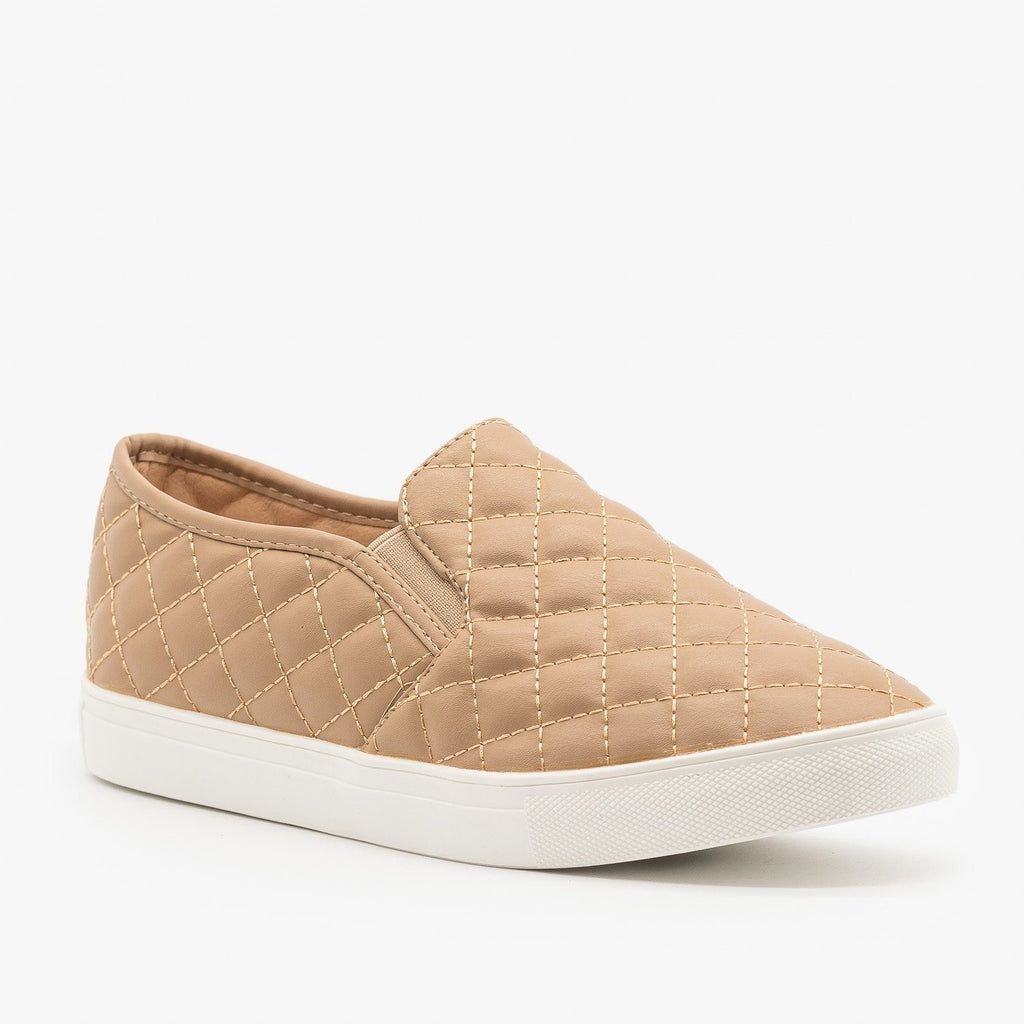 Womens Quilted Slip On Sneakers - La Sheelah Shoes - Taupe / 5
