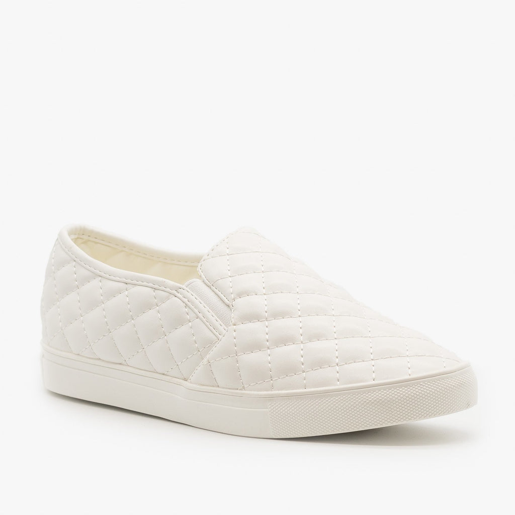 Womens Quilted Slip On Sneakers - La Sheelah Shoes - White / 5