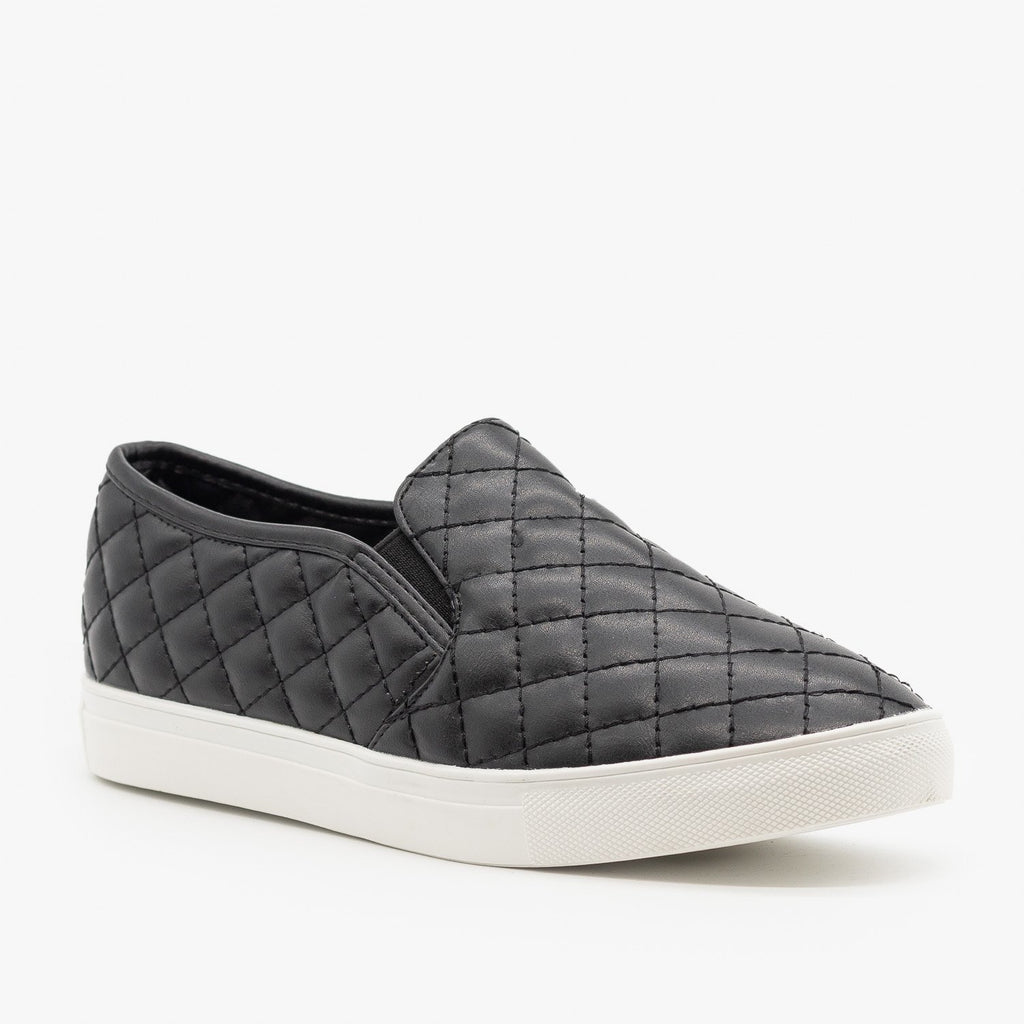 Womens Quilted Slip On Sneakers - La Sheelah Shoes - Black / 5