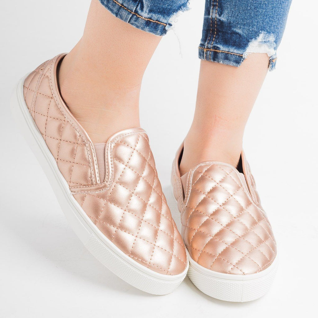 Womens Quilted Slip-On Summer Sneakers - Weeboo - Champagne / 5