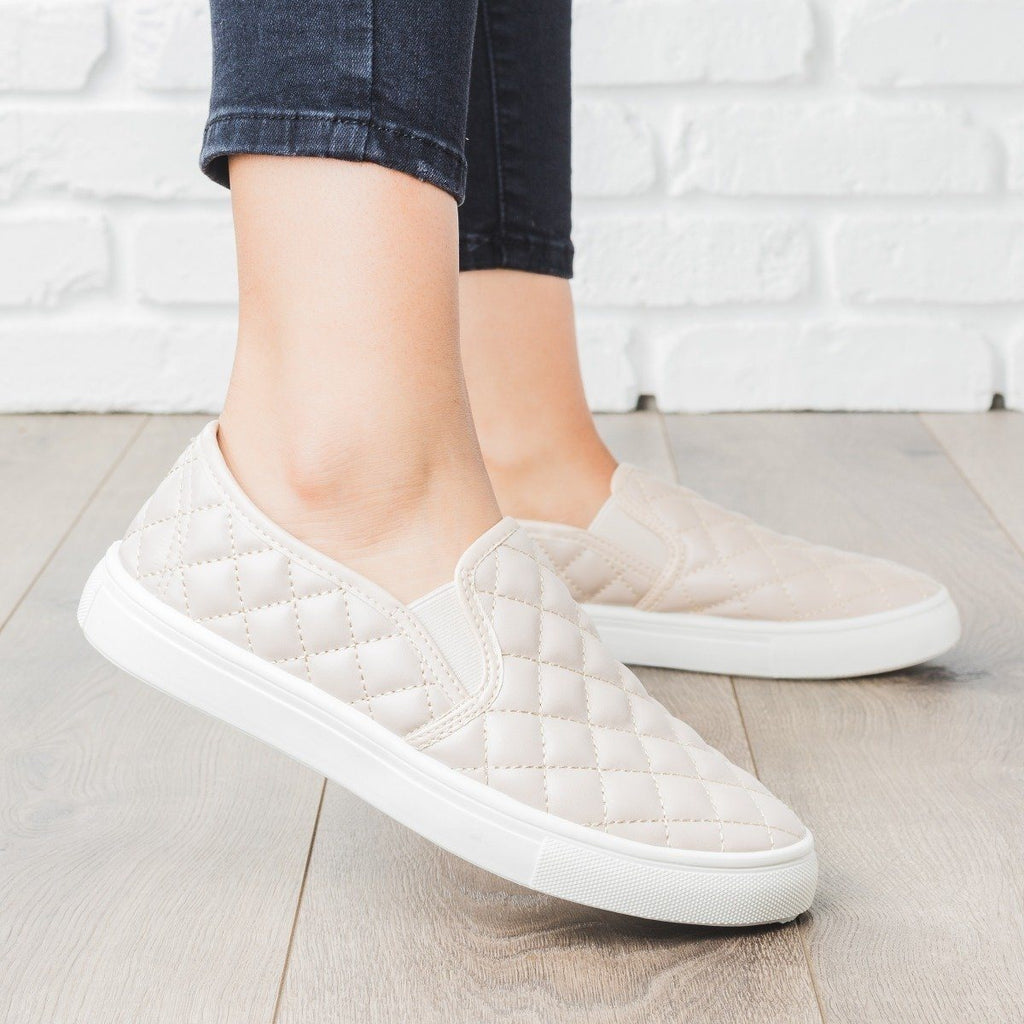 Womens Quilted Slip-On Summer Sneakers - Weeboo - Beige / 5