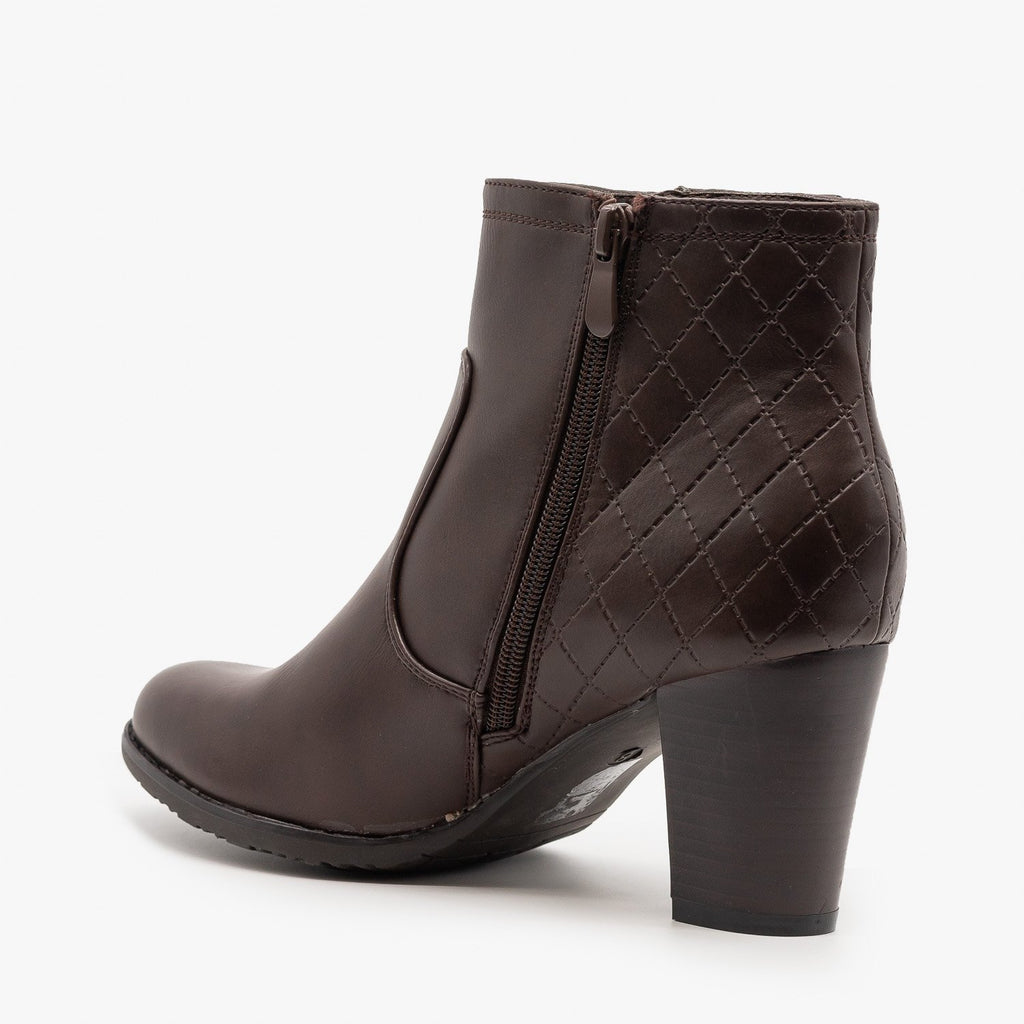 Womens Quilted Stacked Heel Booties - Via Pinky