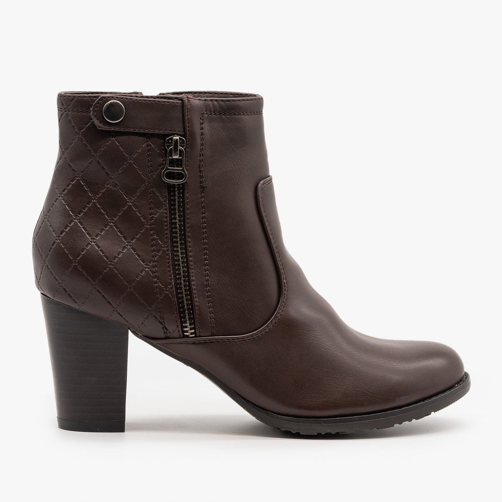 Womens Quilted Stacked Heel Booties - Via Pinky - Brown / 5