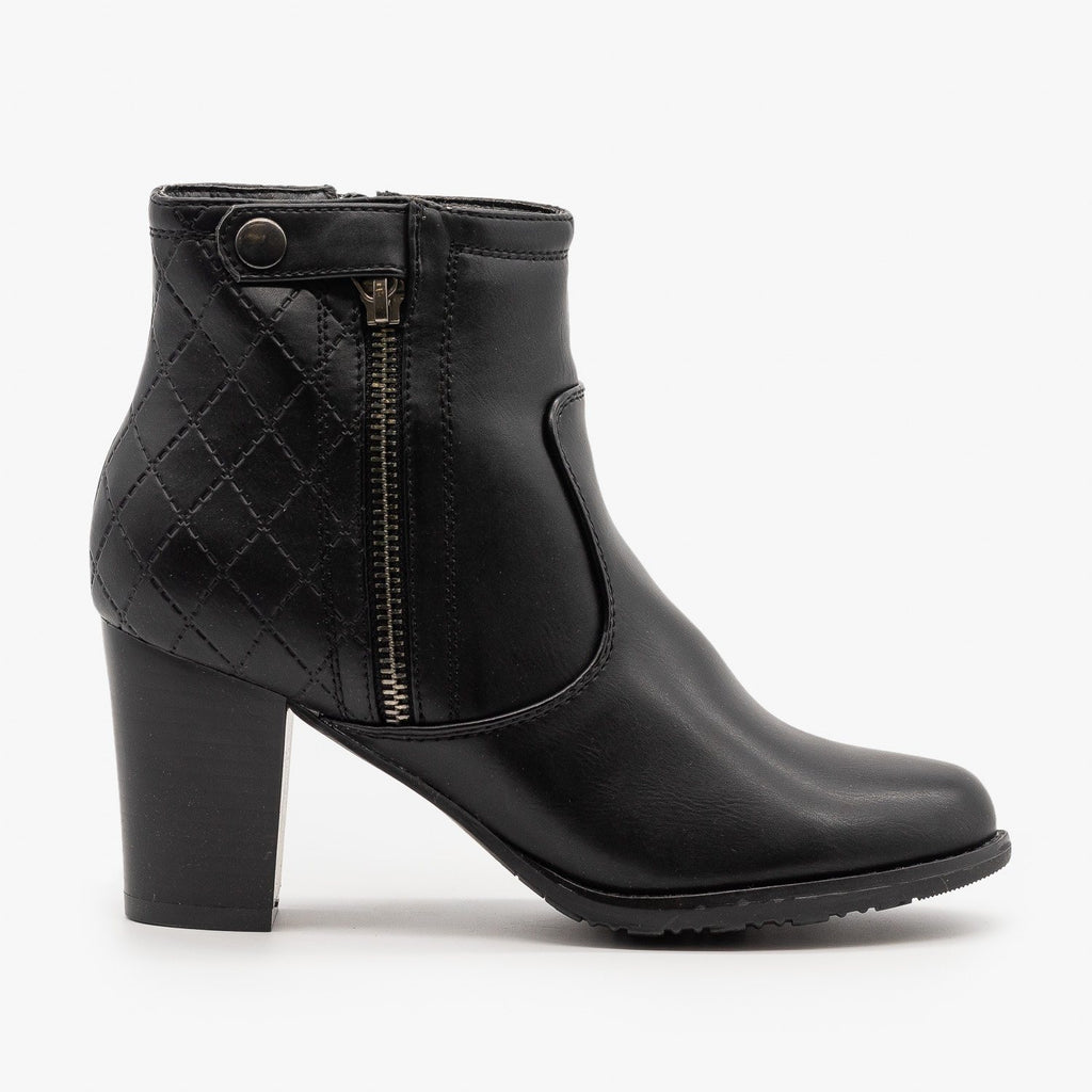 Womens Quilted Stacked Heel Booties - Via Pinky - Black / 5