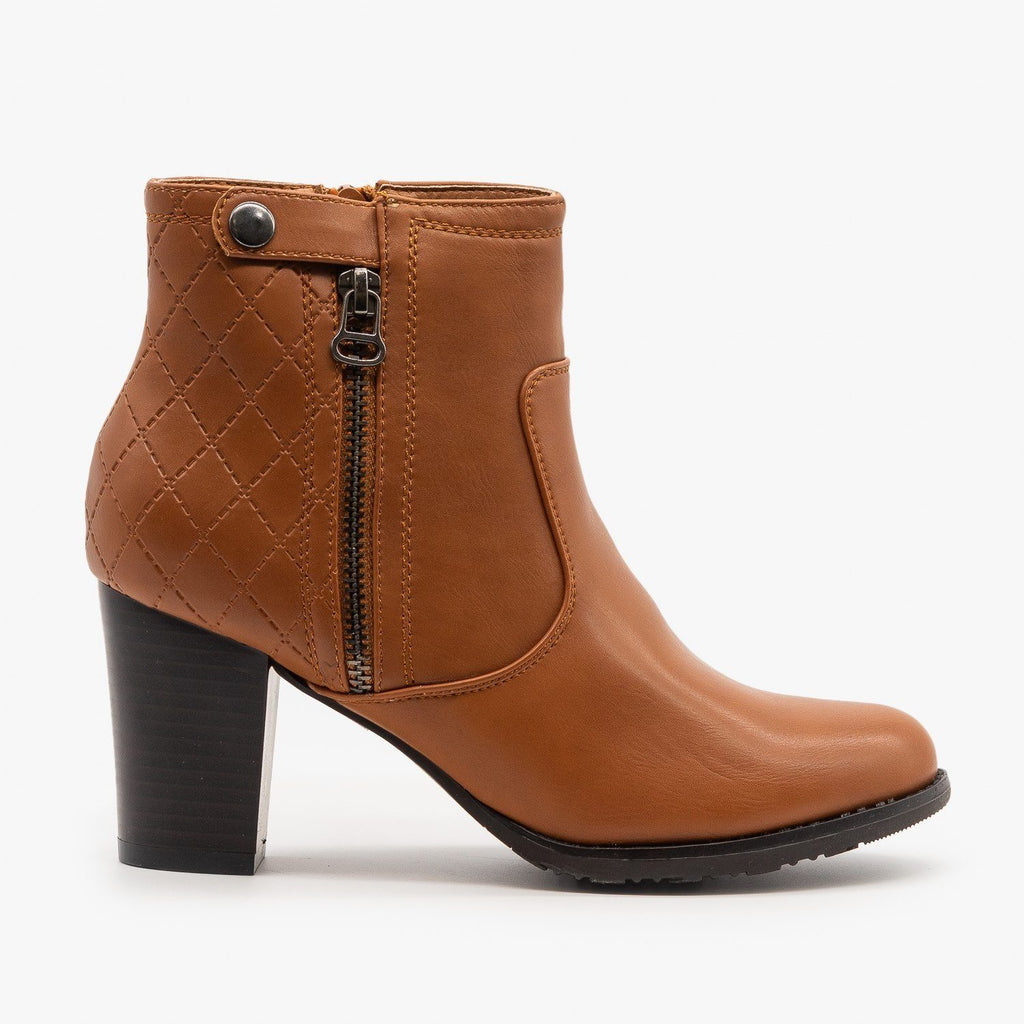 Womens Quilted Stacked Heel Booties - Via Pinky - Camel / 5