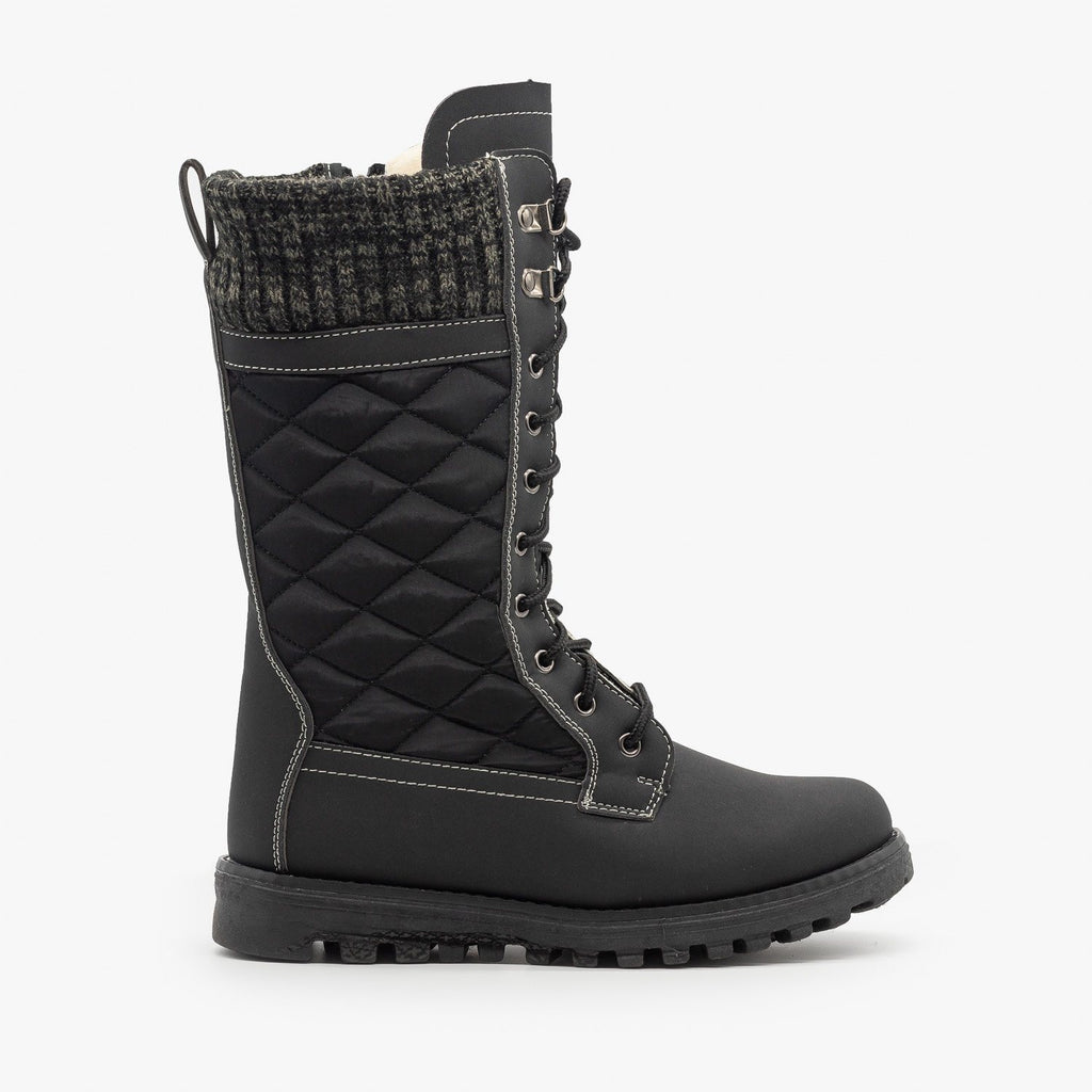 Womens Quilted Sweater Cuff Snow Boots - Refresh - Black / 5