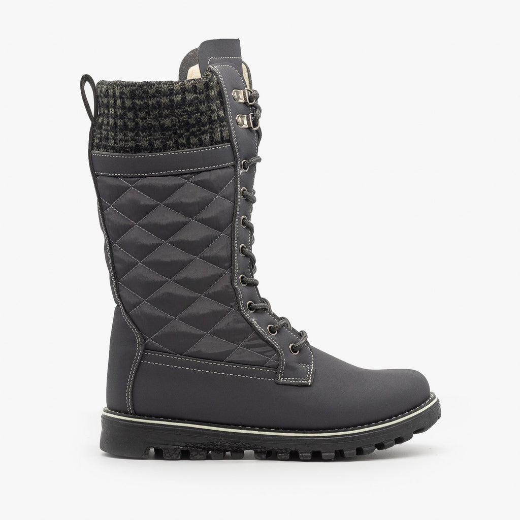 Womens Quilted Sweater Cuff Snow Boots - Refresh - Gray / 5