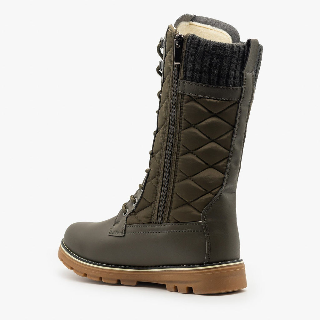 Womens Quilted Sweater Cuff Snow Boots - Refresh