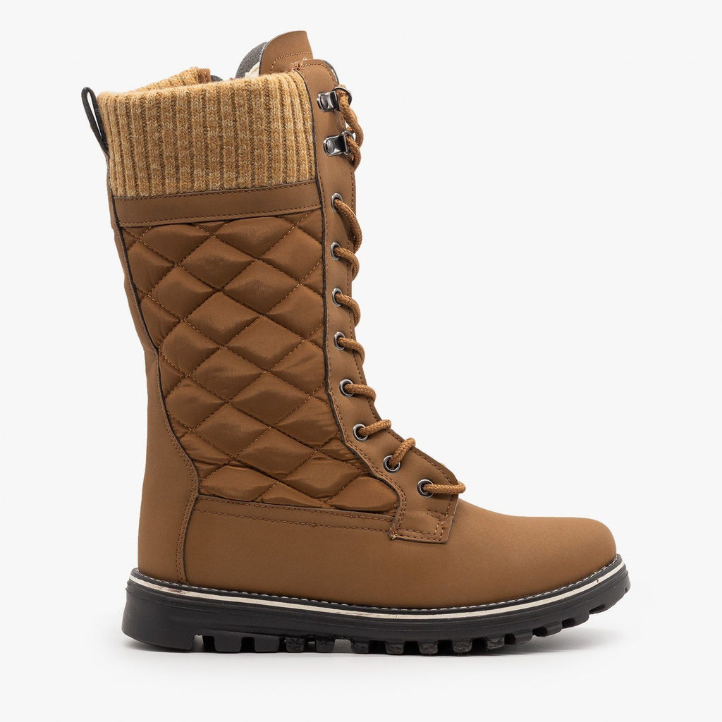 Womens Quilted Sweater Cuff Snow Boots - Refresh - Tan / 5